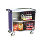 Lakeside 644P Medium-Duty Stainless Steel Three Shelf Utility Cart with Enclosed Base and Purple Finish - 22 1/2 inch x 39 1/4 inch x 37 7/8 inch