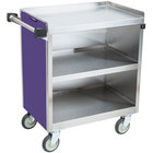 Lakeside 822P Heavy-Duty Stainless Steel Three Shelf Utility Cart With Enclosed Base and Purple Finish - 19 1/2 inch x 31 1/3 inch x 34 1/2 inch
