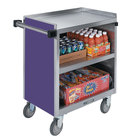 Lakeside 844P Heavy-Duty Stainless Steel Three Shelf Utility Cart With Enclosed Base and Purple Finish - 22 1/2 inch x 39 5/16 inch x 37 inch