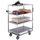 Lakeside 560 Heavy-Duty Stainless Steel Four Shelf Utility Cart with All Edges Down - 21 1/2 inch x 54 1/2 inch x 49 1/4 inch