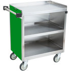 Lakeside 822G Heavy-Duty Stainless Steel Three Shelf Utility Cart With Enclosed Base and Green Finish - 19 1/2 inch x 31 1/3 inch x 34 1/2 inch