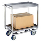 Lakeside PB1500 PrisonBilt Heavy-Duty Correctional Stainless Steel Two Shelf Utility Cart - 21 1/4 inch x 36 1/2 inch x 37 1/4 inch