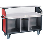 Lakeside 682-10-R Serv 'N Express Stainless Steel Vending Cart with Flat Countertop and Red Laminate Finish - 28 1/4 inch x 77 1/4 inch x 52 1/2 inch