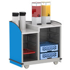 Lakeside 8706BL Stainless Steel Two Compartment Full-Service Hydration Cart with Dual Height Top and Royal Blue Finish - 43 3/16 inch x 25 3/4 inch x 42 1/2 inch