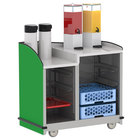 Lakeside 8706G Stainless Steel Two Compartment Full-Service Hydration Cart with Dual Height Top and Green Finish - 43 3/16 inch x 25 3/4 inch x 42 1/2 inch