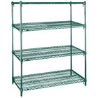 Metro A356K3 Super Adjustable Super Erecta 4-Shelf Metroseal 3 Wire Stationary Starter Shelving Unit - 18 inch x 48 inch x 63 inch