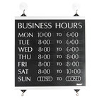 Headline Sign 4247 Century Series 13 inch x 14 inch Black Heavy-Duty Plastic Business Hours Sign