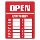 Cosco 098072 15 inch x 19 inch Red Business Hours Sign