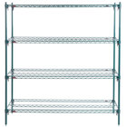 Metro A366K3 Super Adjustable Super Erecta 4-Shelf Metroseal 3 Wire Stationary Starter Shelving Unit - 18