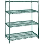 Metro A436K3 Super Adjustable Metroseal 3 4-Shelf Wire Stationary Starter Shelving Unit - 21 inch x 36 inch x 63 inch