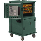 Cambro UPCHT1600192 Granite Green Ultra Camcart Two Compartment Heated Holding Pan Carrier with Casters, Top Compartment Heated - 110V