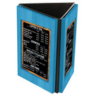 Menu Solutions TRIWD-B-SKY BLUE Charleston 5 inch x 7 inch Sky Blue Three View Wooden Table Tent