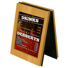 Menu Solutions CHRT7-COUNTRY OAK Charleston 5 inch x 7 inch Country Oak Two View Wooden Table Tent