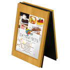 Menu Solutions CHRT4-COUNTRY OAK Charleston 4 inch x 6 inch Country Oak Two View Wooden Table Tent