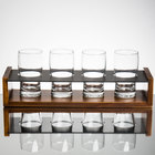 Core Beer Flight Set - 4 Beer Pub Taster Glasses with 4-Well Drop-in Paddle