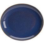 Homer Laughlin 13239026 Indigo™ 10 inch Oval Flipside China Platter - 12/Case