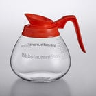 WebstaurantStore Logo 64 oz. Glass Coffee Decanter with Orange Handle by Avantco Equipment