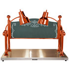 Hanson Heat Lamps CD/HB/2036/SC Dual Lamp 20 inch x 36 inch Smoked Copper Carving Station with Heated Stainless Steel Base and Sneeze Guard - 120V