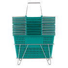 Green 17 1/4 inch x 11 inch Plastic Grocery Market Shopping Basket Set with Stand