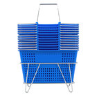 Blue 17 1/4 inch x 11 inch Plastic Grocery Market Shopping Basket Set with Stand