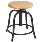 National Public Seating 6800W-10 Black 19 inch - 25 inch Adjustable Swivel Lab Stool with Wooden Seat