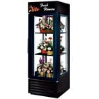 True G4SM-23FC-LD Black Four Sided Glass Door Floral Case with Front Sign