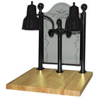 Hanson Heat Lamps DLM/MB/CC/2424/B Dual Bulb 24 inch x 24 inch Black Carving Station with Maple Base and Etched Sneeze Guard