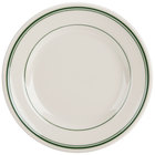 Homer Laughlin 2021 Green Band Rolled Edge 6 5/8 inch Ivory (American White) China Plate - 36/Case
