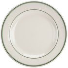 Homer Laughlin 4441 Green Band Rolled Edge 10 5/8 inch Ivory (American White) China Plate - 12/Case
