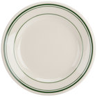Homer Laughlin 2001 Green Band Rolled Edge 5 3/8 inch Ivory (American White) China Plate - 36/Case