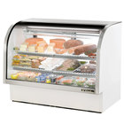 True TCGG-60 60 inch White Curved Glass Refrigerated Deli Case With Stainless Steel Top and Trim - 30 Cu. Ft.