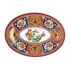 Peacock 8 inch x 6 inch Oval Melamine Platter - 12/Pack