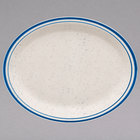 Homer Laughlin 2611537 Sand Dunes 13 3/4 inch x 11 1/4 inch Oval Blue Speckled Narrow Rim China Platter - 12/Case