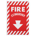 Buckeye Fire Extinguisher Adhesive Label with Border - Red and White, 12 inch x 8 inch