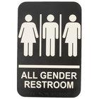Tablecraft 695652 9 inch x 6 inch ADA All Gender Restroom Sign with Braille