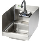 Regency 12 inch x 16 inch Wall Mounted Hand Sink with Gooseneck Faucet and Sidesplash