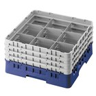 Cambro 9S318186 Navy Blue Camrack Customizable 9 Compartment 3 5/8 inch Glass Rack