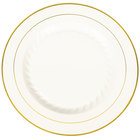 Fineline Silver Splendor 510-BO 10 inch Bone / Ivory Customizable Plastic Plate with Gold Bands - 120/Case