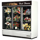 True GDM-69FC-LD White Three Glass Sliding Door Floral Case