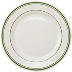 Tuxton TGB-016 Green Bay 10 1/2 inch Ivory (American White) Wide Rim Rolled Edge China Plate with Green Bands - 12/Case