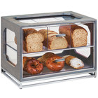 Cal-Mil 3820-83 Ashwood 4 Compartment Gray Oak Wood Bread Case- 20 inch x 13 1/2 inch x 15 inch