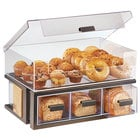 Cal-Mil 3908-84 Sierra Bronze Metal and Rustic Pine 2-Tier Bread Display Case - 22 1/2 inch x 14 3/4 inch x 13 3/4 inch