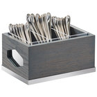 "Cal-Mil 3811-83 Ashwood 3 Compartment Gray Oak Wood Flatware Organizer - 9 1/2"" x 6 3/4"" x 4 3/4"""