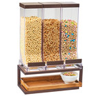 Cal-Mil 3909-84 Sierra 3 Compartment Bronze Metal and Rustic Pine Cereal Dispenser - 18 inch x 10 inch x 24 inch