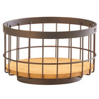 Cal-Mil 3911-10-84 Sierra 10 inch Bronze Metal and Reclaimed Wood Accent Basket