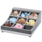 "Cal-Mil 3801-83 Ashwood 9 Compartment Gray Oak Wood Condiment Organizer - 13"" x 13 1/2"" x 6 1/4"""