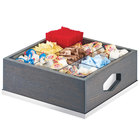 "Cal-Mil 3809-83 Ashwood 9 Compartment Gray Oak Wood Condiment Organizer with Removable Divider - 12"" x 12"" x 6"""