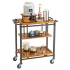 Cal-Mil 3913-84 Sierra Bronze Metal and Rustic Pine 3 Shelf Beverage Cart - 36 inch x 17 1/2 inch x 39 inch
