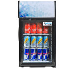 Avantco CLM40 Black Countertop Display Refrigerator with Swing Door and Merchandising Panel