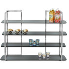 "Eastern Tabletop ST1702L Hi-Rise 30 1/2"" x 9 3/4"" x 9 3/4"" 4 Tier Stainless Steel Risers with 4 Glass Shelves"